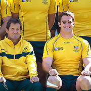Australian coach Robbie Deans, (left) and captain James Horwill during the Australian team's official photograph before the Captain's run at Eden Park in preparation for the third against fourth play off match with Wales at the IRB Rugby World Cup tournament, Auckland, New Zealand. 20th October 2011. Photo Tim Clayton...