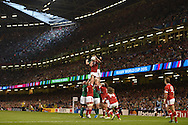a general view of a lineout. Rugby World Cup 2015 pool match, Ireland v Canada at the Millennium Stadium in Cardiff, South Wales  on Saturday 19th September 2015.<br /> pic by  Andrew Orchard, Andrew Orchard sports photography.