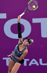 DOHA, Feb. 13, 2019  Polona Hercog of Slovenia serves during the women's singles first round match between Alison Riske of the United States and Polona Hercog of Slovenia at the 2019 WTA Qatar Open in Doha, Qatar, Feb. 12, 2019. Polona Hercog lost 0-2. (Credit Image: © Nikku/Xinhua via ZUMA Wire)