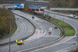 © Licensed to London News Pictures. 15/11/2020.  <br /> Maidstone, UK. The M20 is partly flooded near Maidstone in Kent. Over one hundred flood alerts are put in place by the Met Office today as the UK is hit with heavy overnight rain and gale force winds. Photo credit:Grant Falvey/LNP