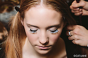 PROVIDENCE, RI - FEB 13: Madison Peck's frosted eyelashes for Jess Abernethy's Candyland meets the German Alps runway show as part of StyleWeek NorthEast on February 13, 2015 in Providence, Rhode Island. (Photo by Cat Laine)