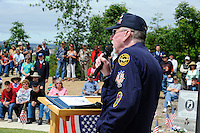 Master of ceremonies Dave Keith speaks before the presentation of the color guards at Monday's somber Memorial Day remembrances at the Monterey County Vietnam Veterans Memorial in Salinas.