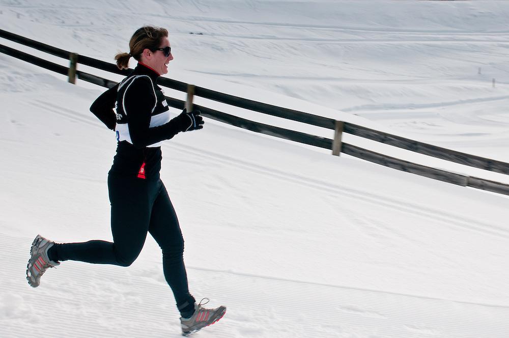 Anna Burtt races downhill on the run leg of the Winter Triathlon, Winter Games, Snow Farm, Saturday August 27, 2011...Photo by Mark Tantrum   www.marktantrum.com