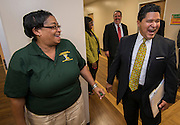 Houston ISD Superintendent Richard Carranza visits Fonwood Early Childhood Center on the first day of school, August 22, 2016.