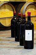 Cuvee Hemera 2002 in very big bottles. Bottle neck with red wax seal. Domaine des Grecaux in St Jean de Fos. Montpeyroux. Languedoc. Barrel cellar. Bottle cellar. France. Europe. Bottle.