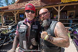 Benny Peterson of Denmark (L) and Tom Wolf of Sweden  at a stop at the Nemo Guest Ranch on the Annual Cycle Source and Michael Lichter Rides (combined this year) left from the new Broken Spoke area of the Iron Horse Saloon during the Sturgis Black Hills Motorcycle Rally. SD, USA.  Wednesday, August 10, 2016.  Photography ©2016 Michael Lichter.