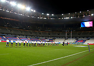 Teams of France and Ireland during hymns before the Guinness Six Nations 2020, rugby union match between France and Ireland on October 31, 2020 at Stade de France in Saint-Denis near Paris, France - Photo Jean Catuffe / ProSportsImages / DPPI