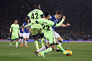 Gael Clichy of Manchester City tackles Seamus Coleman of Everton. Capital one cup semi final 1st leg match, Everton v Manchester city at Goodison Park in Liverpool on Wednesday 6th January 2016.<br /> pic by Chris Stading, Andrew Orchard sports photography.