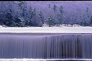 Dam, waterfall, winter snow and ice, Bear Creek Lake, Bear Creek, PA