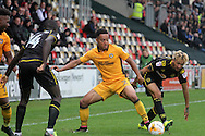 Newport County's Jazzi Barnum-Bobb is surrounded by Crewe defenders. Skybet EFL league two match, Newport county v Crewe Alexandra at Rodney Parade in Newport, South Wales on Saturday 20th August 2016.<br /> pic by David Richards, Andrew Orchard sports photography.
