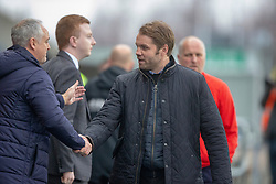 Falkirk's manager Ray McKinnon and Dundee United's manager Robbie Neilson at the start. Falkirk 1 v 1 Dundee United, Scottish Championship game played 23/2/2019 at The Falkirk Stadium.