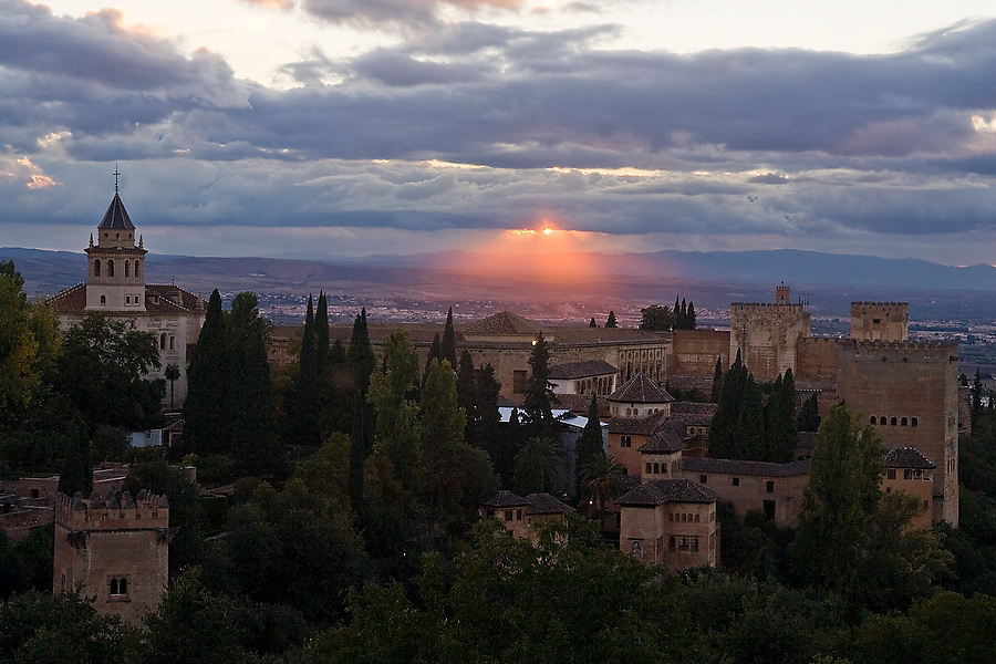 View at sunset of La Alhambra from the Generalife complex in Granada, Andalusia, Spain.