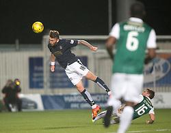 Falkirk's Lee Miller's header hits the bar. Falkirk 0 v 1 Hibernian, Scottish Championship game played 20/10/2015 at The Falkirk Stadium.