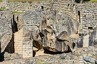 temple of the condor Machu Picchu, Incas ruins in the peruvian Andes at Cuzco Peru