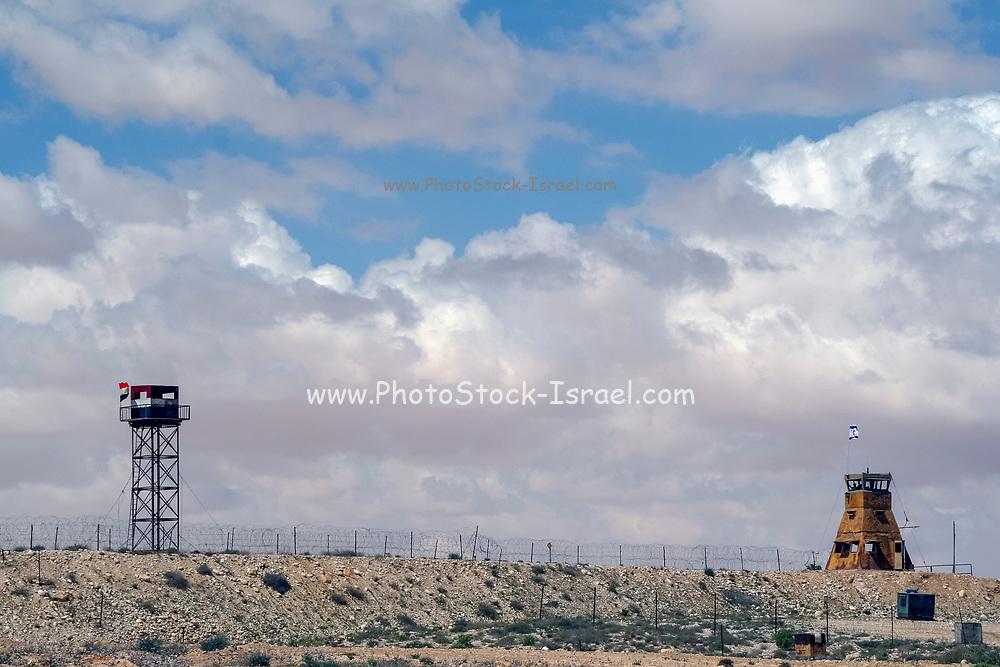 The Israel Egypt border. Egyptian Guard tower (left) opposite an Israeli guard box (right)