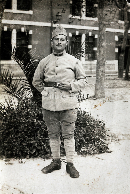 vintage portrait of soldier in uniform