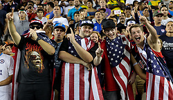 July 26, 2017 - Santa Clara, CA, USA - Santa Clara, CA - Wednesday July 26, 2017: USA supporters celebrate a USA goal during the 2017 Gold Cup Final Championship match between the men's national teams of the United States (USA) and Jamaica (JAM) at Levi's Stadium. (Credit Image: © Bob Drebin/ISIPhotos via ZUMA Wire)