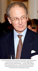 LORD FELLOWES former private secretary to HM The Queen, at a lectrure in London on 13th May 2002.OZX 7