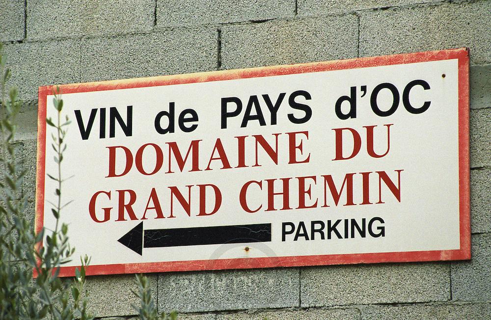 Vin de Pays d'Oc Domaine du Grand Chemin parking. Domaine du Grand Chemin, Vin de Pays d'Oc. in Savignargues. Languedoc. France. Europe.