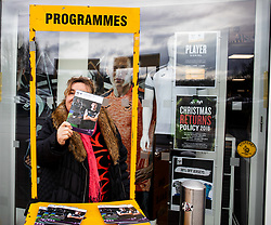 A programme seller outside of the stadium<br /> <br /> Photographer Simon King/Replay Images<br /> <br /> European Rugby Challenge Cup Round 5 - Ospreys v Worcester Warriors - Saturday 12th January 2019 - Liberty Stadium - Swansea<br /> <br /> World Copyright © Replay Images . All rights reserved. info@replayimages.co.uk - http://replayimages.co.uk