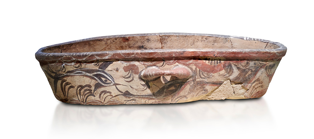 Theran Minoan polychrome kymbe with dolphin decorations, Akrotiri, Thira (Santorini) National Archaeological Museum Athens. 17th-16th cent BC.<br /> <br /> The kymbe is a typical Theran Minoan elongated vessel whose use is unknown. .<br /> <br /> If you prefer to buy from our ALAMY PHOTO LIBRARY  Collection visit : https://www.alamy.com/portfolio/paul-williams-funkystock/minoan-art-artefacts.html . Type -   Athens    - into the LOWER SEARCH WITHIN GALLERY box. Refine search by adding background colour, place, museum etc<br /> <br /> Visit our MINOAN ART PHOTO COLLECTIONS for more photos to download  as wall art prints https://funkystock.photoshelter.com/gallery-collection/Ancient-Minoans-Art-Artefacts-Antiquities-Historic-Places-Pictures-Images-of/C0000ricT2SU_M9w