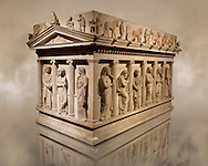 Sarcophagus of The Mourning Women, 4th cent. B.C Greek from the Royal Necropolis of Sidon , Chamber no I, Lebanon, Istanbul Archaeological Museum Inv. 386T  Cat. Mendel 10. .<br /> <br /> If you prefer to buy from our ALAMY STOCK LIBRARY page at https://www.alamy.com/portfolio/paul-williams-funkystock/greco-roman-sculptures.html- Type -    Istanbul    - into LOWER SEARCH WITHIN GALLERY box - Refine search by adding a subject, place, background colour, museum etc.<br /> <br /> Visit our CLASSICAL WORLD HISTORIC SITES PHOTO COLLECTIONS for more photos to download or buy as wall art prints https://funkystock.photoshelter.com/gallery-collection/The-Romans-Art-Artefacts-Antiquities-Historic-Sites-Pictures-Images/C0000r2uLJJo9_s0c