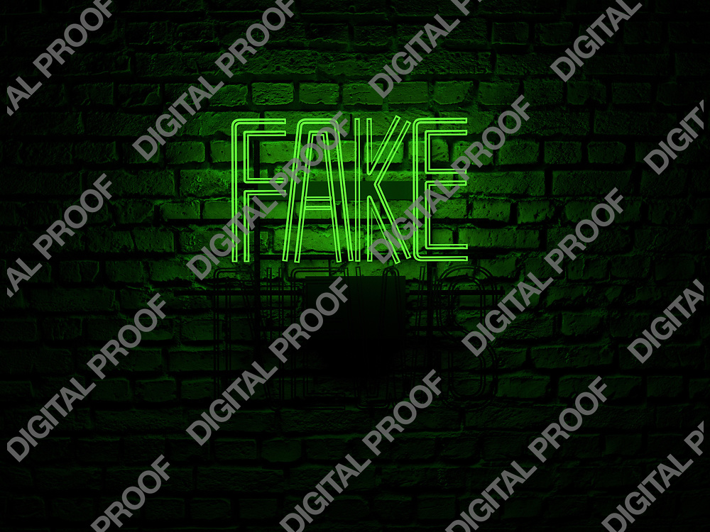 Fake News Neon Sign green color fake on news off over a red brick wall at dark - Illustration Computer Rendered - Illustration
