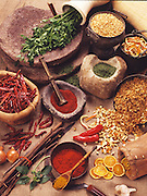 Still life with spices and herbs on Jute