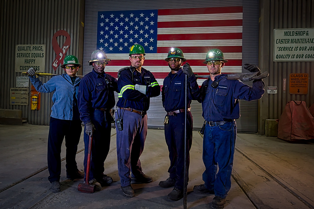 Workers at the NUCOR Berkeley Steel Mill, Friday, July 21, 2017 in Huger, S.C. (Photo/Stephen B. Morton)