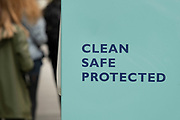 Sign suggesting that the area is clean, safe and protected on Regent Street on 25th May 2021 in London, United Kingdom. As the coronavirus lockdown continues its process of easing restrictions, more and more people are coming to the West End as more businesses open.