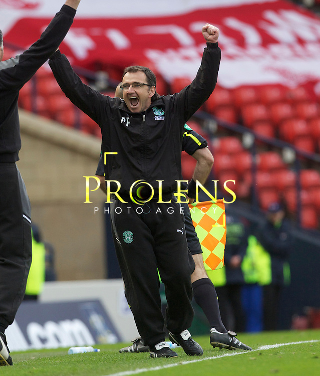 William Hill Scottish FA Cup Semi Final Aberdeen FC v Hibernian FC Season 2011-12.14-04-12...Hibernian Manager Pat Fenlon celebrates at Full time   during the William Hill Scottish FA Cup Semi Final tie between Aberdeen FC and Hibernian FC with the Winner facing either Celtic or Hearts. Hibs are aiming for their first Scottish Cup win in 110 years and a possible All Edinburgh derby Final, with Aberdeen looking to salvage a highlight from a up and down season...At Hampden Park Stadium , Glasgow..Saturday 14th April 2012.Picture Mark Davison/ Prolens Photo Agency / PLPA