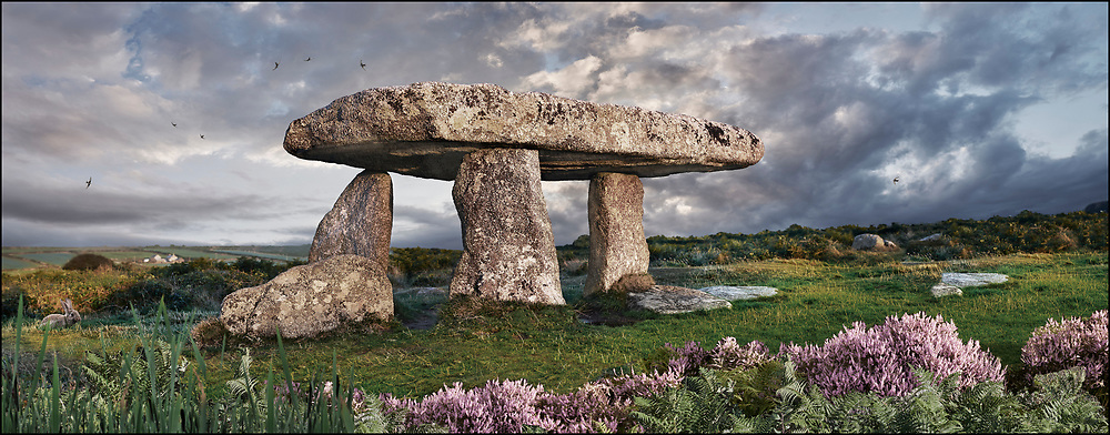 Circles of ~Stone - Lanyon Quoit is a megalithic burial dolmen from the Neolithic period, circa 4000 to 3000 BC, near Morvah on the Penwith peninsula, Cornwall, England. By photographer Paul E Williams.<br /> <br /> Visit our LANDSCAPE PHOTO ART PRINT COLLECTIONS for more wall art photos to browse https://funkystock.photoshelter.com/gallery-collection/Places-Landscape-Photo-art-Prints-by-Photographer-Paul-Williams/C00001WetsxVxNTo