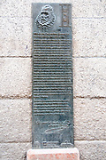 A plaque on the wall of the house where Miguel de Cervantes Saavedra's lived in Madrid, Spain