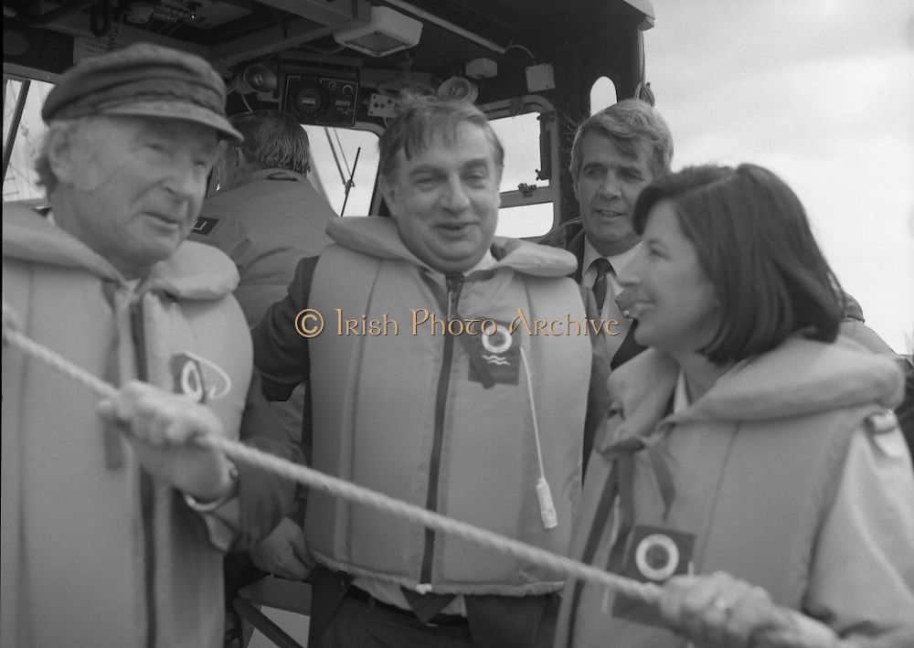 Round Europe Yacht Race.   (R61)..1987..25.07.1987..07.25.1987..25th July 1987..President Patrick Hillery started the Round Europe Yacht Race which began at Dun Laoghaire today...Pictured on board the Dun Laoghaire Lifeboat were; President Patrick Hillery, Commissioner Sutherland and Councillor Ann Brady, Cathairleach, Dún Laoghaire Corporation.