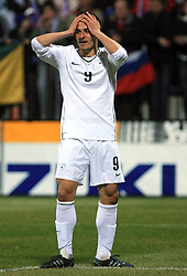 Zlatan Ljubijankic of Slovenia at the 8th day qualification game of 2010 FIFA WORLD CUP SOUTH AFRICA in Group 3 between Slovenia and Czech Republic at Stadion Ljudski vrt, on March 28, 2008, in Maribor, Slovenia. Slovenia vs Czech Republic 0 : 0. (Photo by Vid Ponikvar / Sportida)