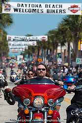 Main Street during Daytona Beach Bike Week, FL., USA. March 9, 2014.  Photography ©2014 Michael Lichter.