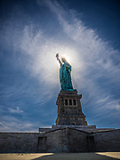 The Statue of Liberty National Monument is erected on Liberty Island in New York Harbor.