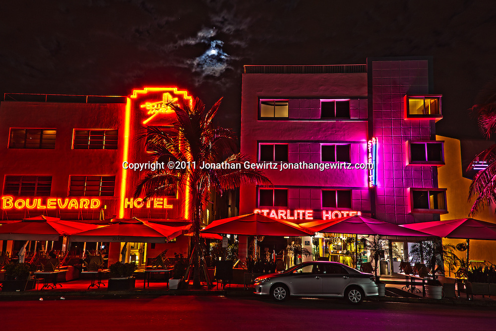 The Boulevard and Starlite hotels on South Miami Beach's Ocean Drive at night. WATERMARKS WILL NOT APPEAR ON PRINTS OR LICENSED IMAGES.