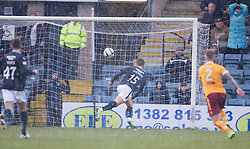 Dundee's Greg Stewart scoring their second goal. <br /> half time : Dundee 3 v 1 Motherwell, SPFL Premiership played 10/1/2015 at Dundee's home ground Dens Park.