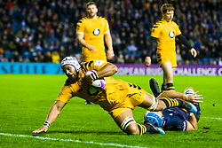 Nizaam Carr of Wasps scores a try - Mandatory by-line: Ewan Bootman/JMP - 06/12/2019 - RUGBY - Murrayfield - Edinburgh, England - Edinburgh Rugby v Wasps - European Rugby Challenge Cup