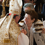 VENICE, ITALY - MARCH 25:Ê The recently appointed Patriarch of Venice Francesco Moraglia greets his mother Elena during the Solemn Mass in St Mark's Cathedral on March 25, 2012 in Venice, Italy. The Patriarch of Venice is the smallest of the Italian dioceses but one of the oldest, created in 774. Three of the last seven Italian Pontiffs were Patriarch of Venice. (Photo by Marco Secchi/Getty Images)