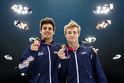 Chris Mears and Jack Laugher of Great Britain celebrate with their medals after winning Gold in the Mens 3m Synchronised Springboard - Mandatory byline: Rogan Thomson/JMP - 13/05/2016 - DIVING - London Aquatics Centre - Stratford, London, England - LEN European Aquatics Championships 2016 Day 5.