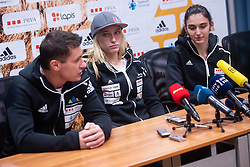 Gorazd Hren, Janja Garnbret and Mia Krampl during PZS press conference after IFSC Climbing World Championships in Hachioji (JPN) 2019, on August 23, 2019 at Ministry of Education, Science and Sport, Ljubljana, Slovenia. Photo by Grega Valancic / Sportida