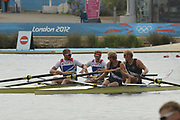 Eton Dorney, Windsor, Great Britain,<br /> <br /> 2012 London Olympic Regatta, Dorney Lake. Eton Rowing Centre, Berkshire.  Dorney Lake.   <br /> <br /> Final, Men's Pair GBR M2- Bow George NASH and Will SATCH and NZL M2-, Bow Eric MURRAY and Hamish BOND<br /> <br />  11:57:02  {DOW]  {DATE}    [Mandatory Credit: Peter Spurrier/Intersport Images]