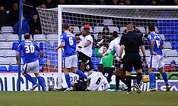 Oldham Athletic's Gary Harkins scores his sides first goal - Photo mandatory by-line: Joe Dent/JMP - Tel: Mobile: 07966 386802 25/01/2014 - SPORT - FOOTBALL - Boundary Park - Oldham - Oldham Athletic v Peterborough United - Sky Bet League One