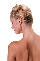 Young caucasian woman profile and back nude.