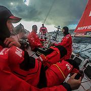 Leg 3, Cape Town to Melbourne, day 03, Sophie Ciszek, Blair Take, Pablp Arrarte, Xabi Fernandez on board MAPFRE. Photo by Jen Edney/Volvo Ocean Race. 12 December, 2017.