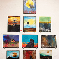 Work by local artist Tasha Nez at the 8 x 10 x 20 Artist Challenge show opening at Art123 Gallery Saturday night in Gallup. The show features 20 local artists and runs through March 7.