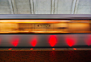 A Washington, DC Metro system subway train moves through the Cleveland Park station. WATERMARKS WILL NOT APPEAR ON PRINTS OR LICENSED IMAGES.
