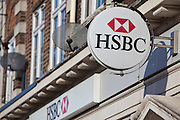 The HSBC sign, outside their branch at Stamford Hill, London.